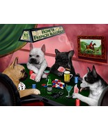 Home of French Bulldogs 4 Dogs Playing Poker Art Portrait Print Woven Th... - $147.51