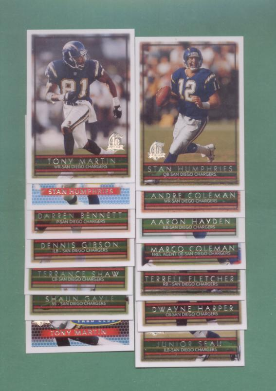 1996 Topps San Diego Chargers Football Team Set