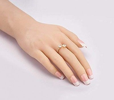 Cutesmile Fashion Jewelry Gold/Silver Dazzling Double Love Heart Crystal Open