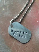 """Men's Necklace ~ Small Dog Tag ~Chevrolet Lovers """"BowTie Rules""""  Christm... - $32.00"""