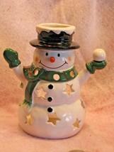 Tealight Votive illuminating snowman candle holder with Snowball Star Po... - $15.43