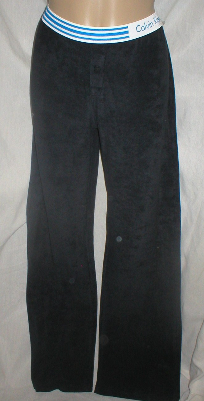 Calvin Klein Black terry cloth sport active athletic pants S or M NEW