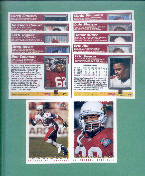 1995 Topps Arizona Cardinals Football Set
