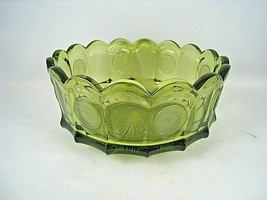Vintage Fostoria Glass Coin Pattern Glass Candy Dish Olive Green Christmas - $18.33