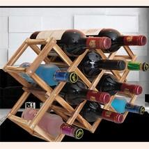 Wooden Red Wine Rack Classical Beer Foldable 10 Bottle Holder Bar Displa... - $21.27