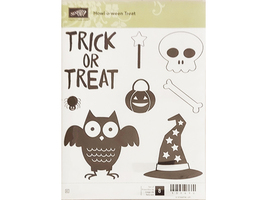 Stampin' Up! Howl-o-ween Treat 8 Piece Rubber Cling Stamp Set #139690