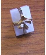 Vintage Tiny Gift Box Brooch Pin with Bow - $10.00