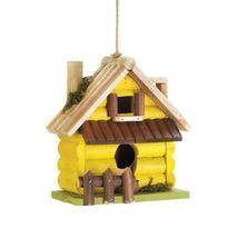 #10018415 *Yellow Log Cabin Wood Bird House* - £12.09 GBP
