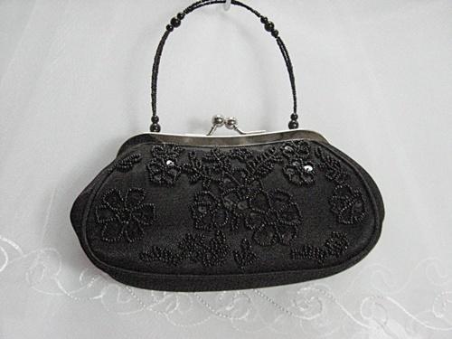 Sequin beaded floral bridal clutch wedding party handbag purse occasion 960bk - $26.00
