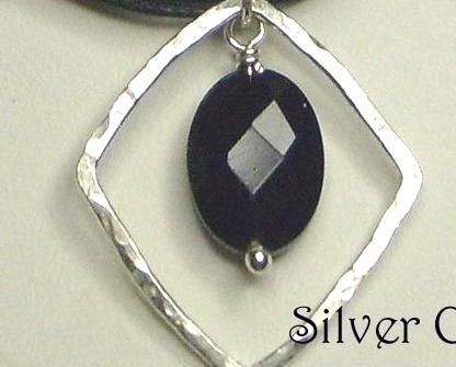 Black Onyx Gemstone & Argentium Sterling Silver Necklace