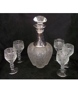 Paden City Decanter Set SILVER Vintage Glass Goblets Wine Cordial Spring... - $169.98