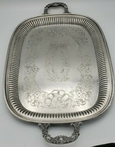 Newport Serving Tray Silverplate by Gorham Mid-Century Exquisite Handles - $44.09