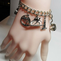 """STERLING SILVER 10 Charm 7 1/4"""" Bracelet 29.5 Grams ITALY Travel Shoes T... - $49.50"""