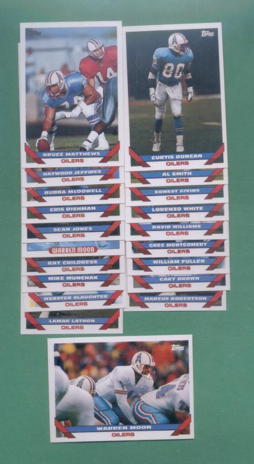 1993 Topps Houston Oilers Football Team Set