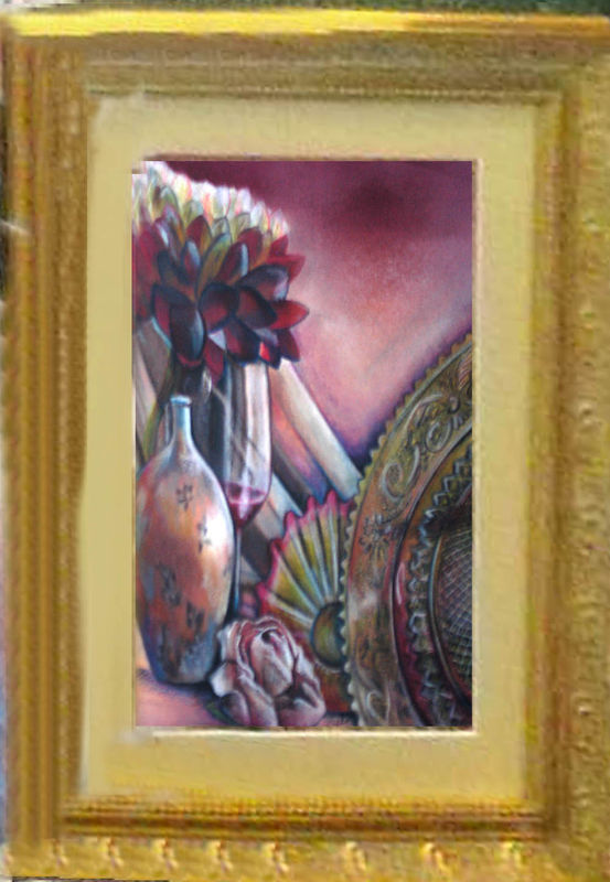 Original Art color pencil drawing framed 11x14 still life floral depression glas