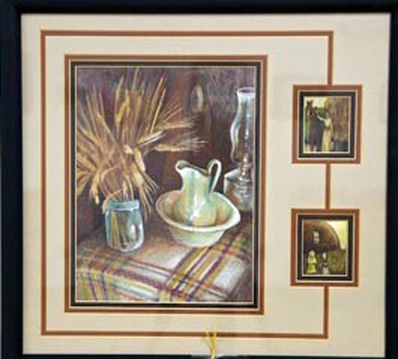 Original Art colorpencil drawing framed 16x20 Sandhill Soddy pioneer wheat