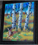Original Art pastel drawing framed 16x20 fall aspen forest fawn deer - $375.00