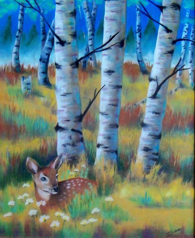 Original Art pastel drawing framed 16x20 fall aspen forest fawn deer