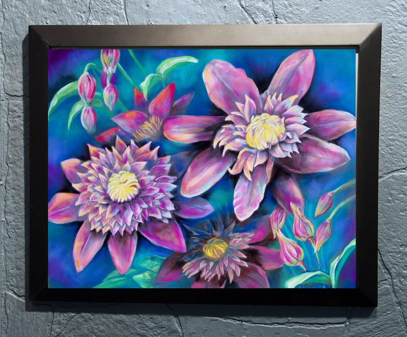 Original Art pastel drawing framed 16x20 still life floral clemantis