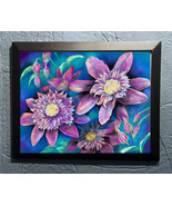 Original Art pastel drawing framed 16x20 still life floral clemantis - $250.00