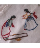 AMERICAN INDIAN MOTIF VINTAGE EMBROIDERED HANKERCHIEF - $12.00