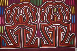 Kuna Mola Hand stitched Applique Art Flamingo Labyrinth Collector Textil... - $60.79