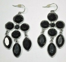 LC Liz Claiborne Silvertone Black Faceted Crystal Chandelier Dangle Drop... - $13.57