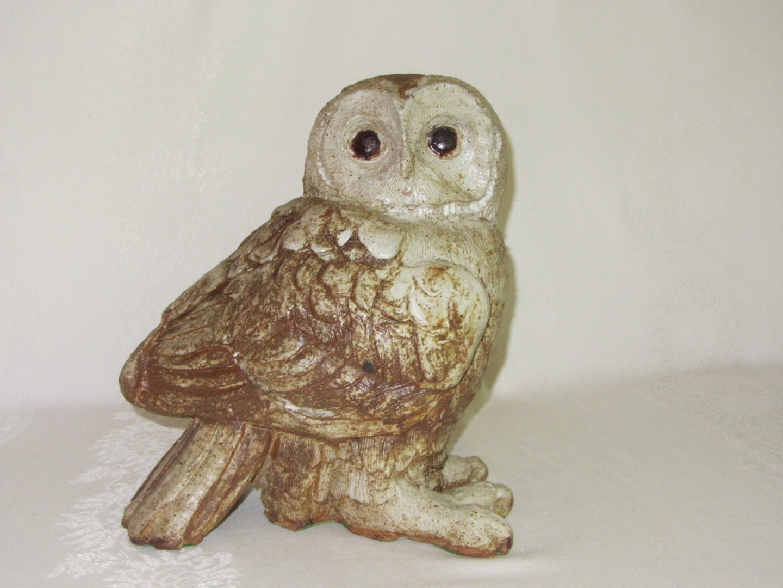 Large Heavy Vintage Cement Concrete Owl Figurine Garden Sculpture Rustic Art