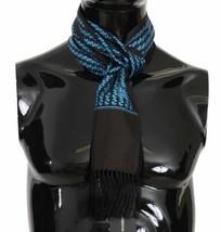 Dolce & Gabbana Blue & Black Patterned 100% Silk Mens Luxury Scarf 16cm ... - $127.71