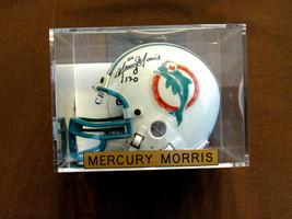 MERCURY MORRIS #22 17-0 MIAMI DOLPHINS SIGNED AUTO RIDDELL MINI HELMET C... - $197.99