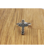 925 Sterling silver Big Antique Cross statement Ring - $40.00