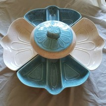 MCM California Pottery Lazy Susan Pink And Blue L 42 Complete - $56.10