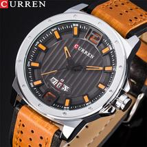 Curren 8293 New Fashion Design Men Watches Leather Strap Male Clock Display Date - $55.78