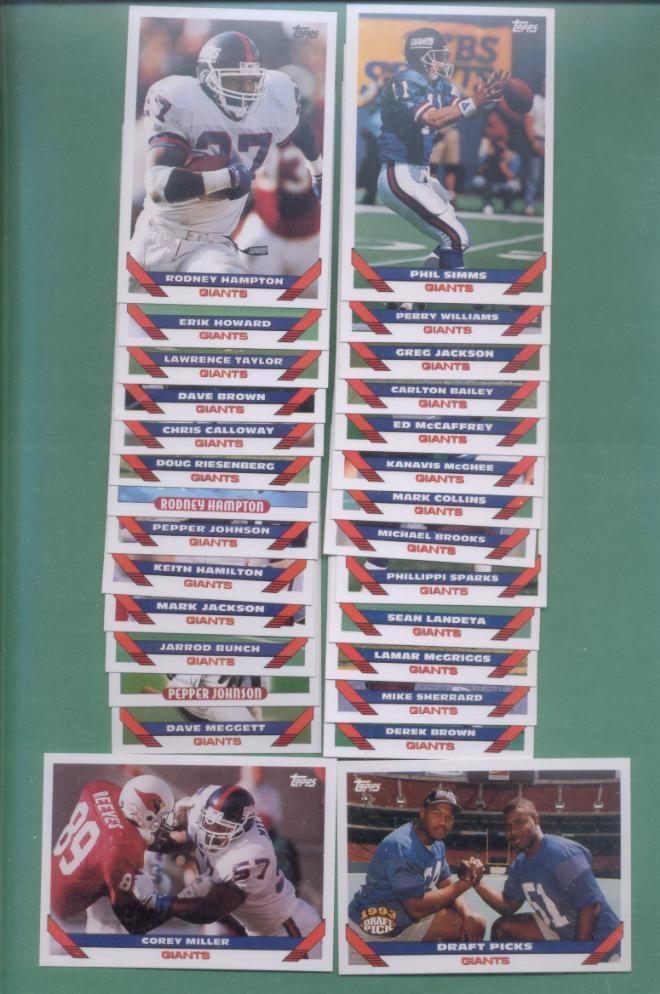 1993 Topps New York Giants Football Team Set