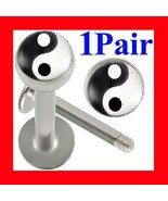 16g~8mm Yin Yang labret lip chin rings monroe b... - $6.99