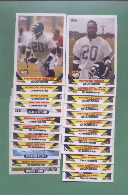 1993 Topps San Diego Chargers Football Set