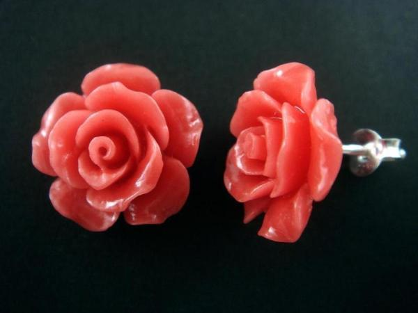 925 Sterling Silver Stud Earrings Set Coral Flower Rose