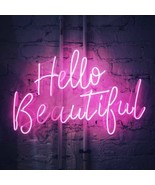 "New Hello Beautiful Neon Sign Room Glass Artwork Acrylic Light Gift 20""x16"" - $168.29"