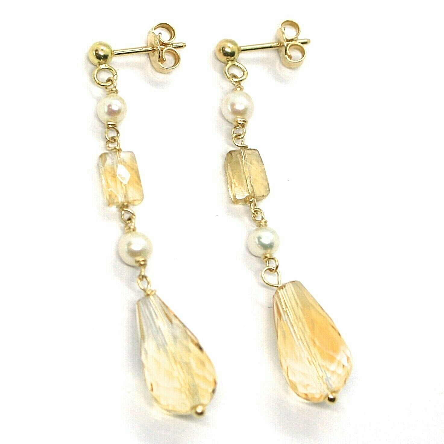 18K YELLOW GOLD PENDANT EARRINGS, PEARL AND CITRINE DROP, 1.93 INCHES