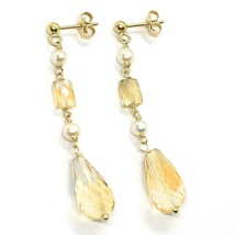 18K YELLOW GOLD PENDANT EARRINGS, PEARL AND CITRINE DROP, 1.93 INCHES image 1