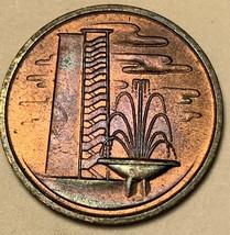 1969 SINGAPORE 1 ONE CENT COLOR UNC GEM TONED BU DEEP PURPLE (DR) - $24.74