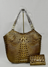 SET of Brahmin Marianna Leather Tote/Shoulder Bag + Wallet in Oak Melbourne - $379.00