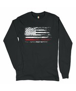 Distressed American Flag Long Sleeve T-shirt Thind Red Line Firefighter  - $14.71+