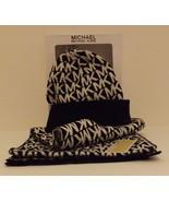 GENUINE MICHAEL KORS BLACK & WHITE 2 PIECE SCARF & HAT SET GIFT BOX $88 ... - $42.56