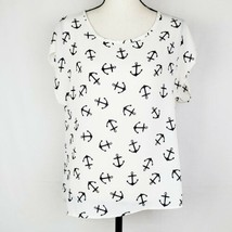 Anchor Blouse Womens L White Navy Blue Novelty Print Nautical Career Wor... - $9.99