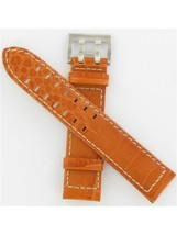 Hamilton 21/20mm Orange Leather Strap Khaki N GMT Watch Band H600776129 - $140.00