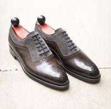 Handmade Men's Brown Grey Heart Medallion Leather & Suede Dress/Formal Shoes image 3