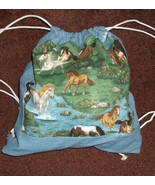 handcrafted lined fabric day pack book bag drawstring 14 x 16 HORSES - $15.00