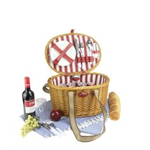 NORTHLIGHT 4-Person Hand Woven Honey Willow Striped Picnic Basket Set - $1.067,37 MXN