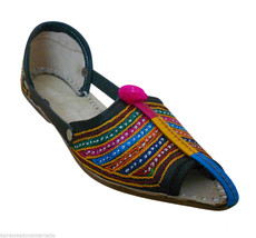 Women Sandals Indian Handmade Boho Leather Pointy Flats Mojari US 7 - £23.13 GBP